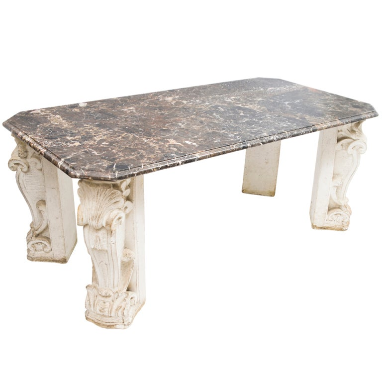 french 1940 39 s baroque stone base table with breccia marble