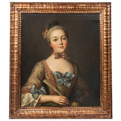 French 18th Century Portrait of a Young Noblewoman, Oil on Canvas