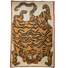 Tibetan Chain Stitch Woolwork Tiger Tapesty Panel