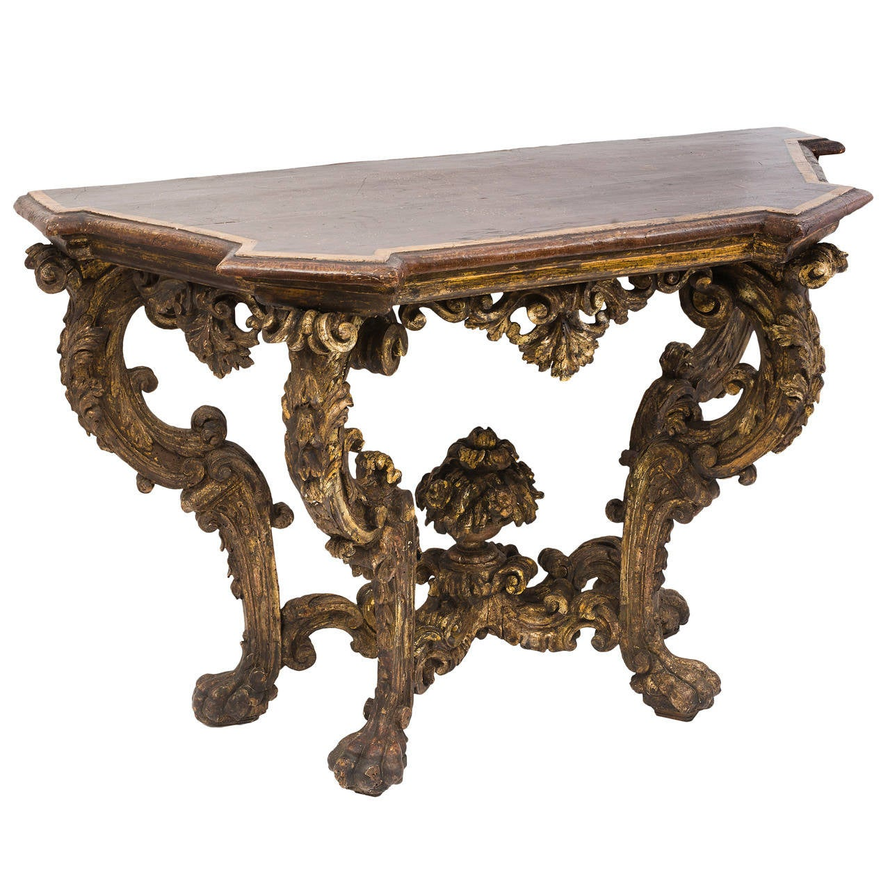 Baroque carved and silver gilded console table with faux - Baroque console table ...