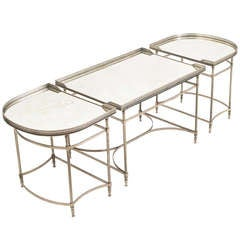 Elegant French Three Part Place Surtout Mirrored Coffee Table circa 1950
