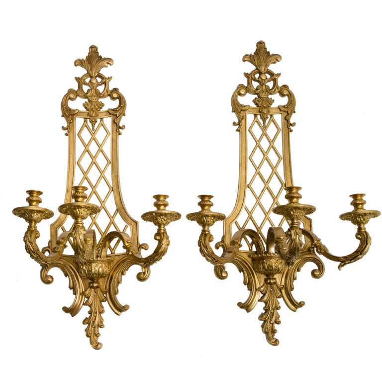 French Brass Wall Sconces : Pair Large French Gilt Bronze Regence Style Wall Sconces Early 20thC