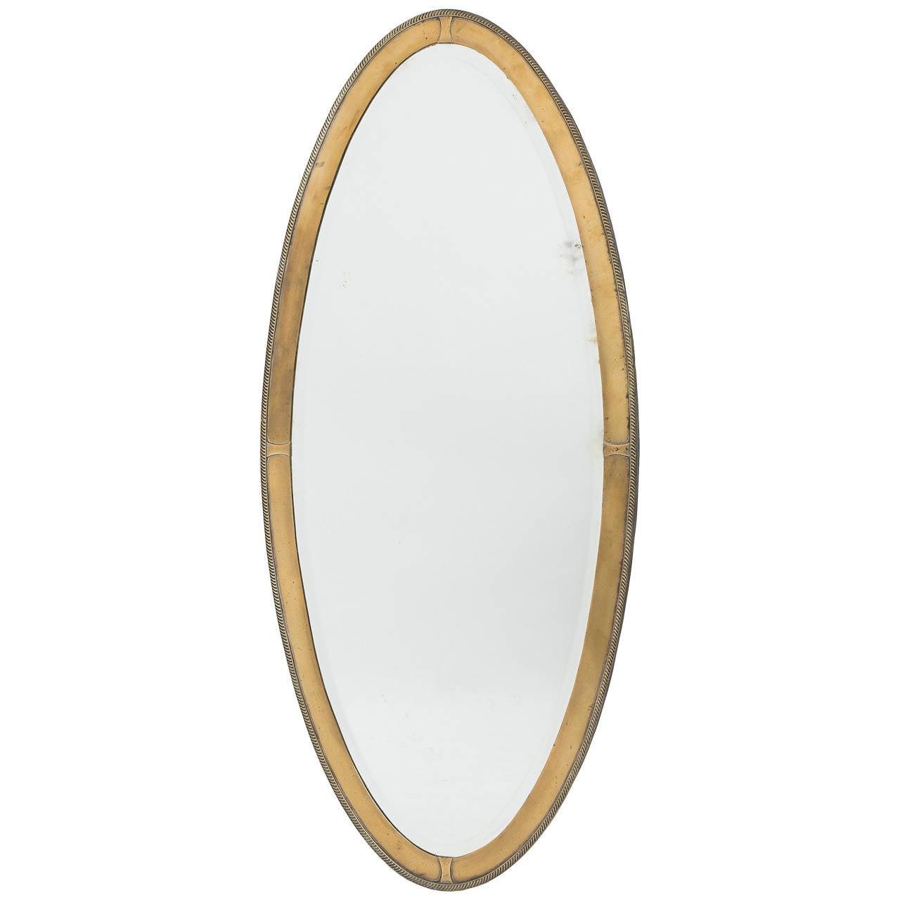 Elegant english edwardian oval brass mirror circa 1910 at for Elegant mirrors