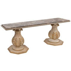 Unusual Italian Parcel-Gilt Console Table with Faux Marble Top, circa 1920
