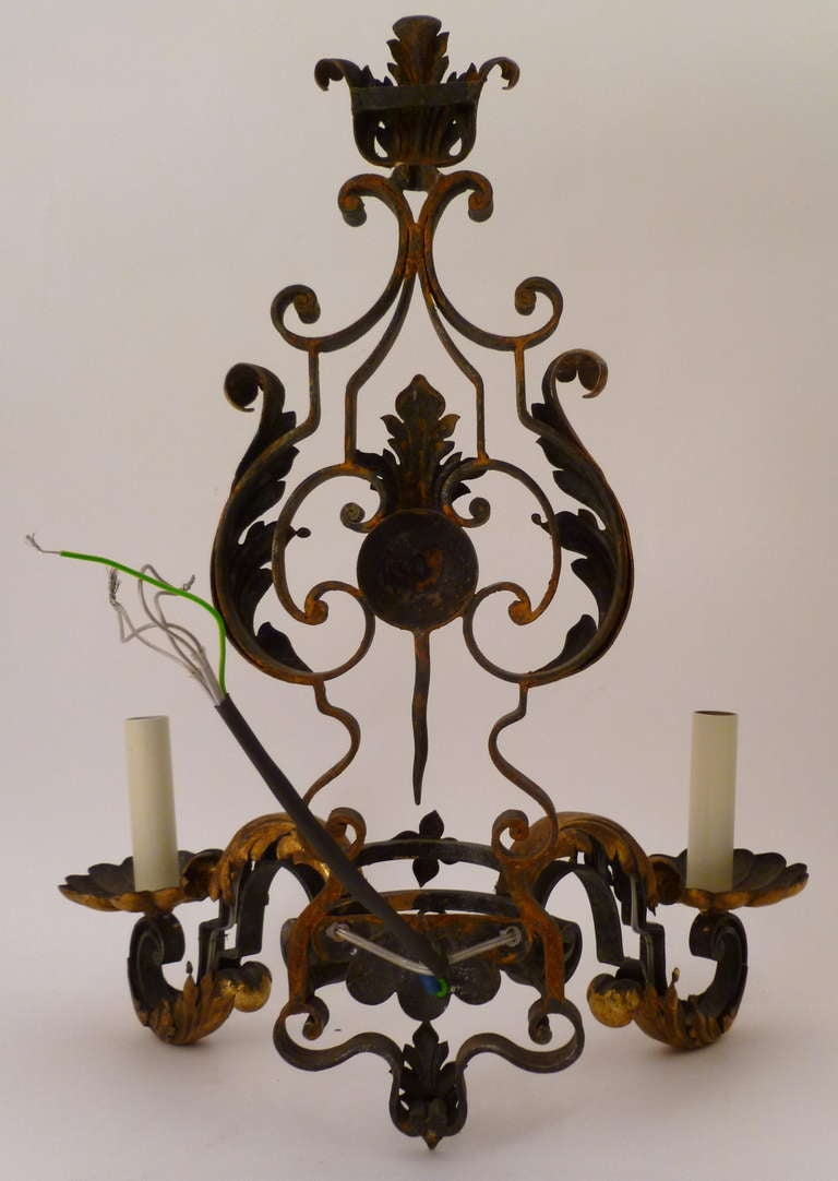 French Iron Wall Sconces : Set 6 French Wrought Iron Wall Sconces c.1900 at 1stdibs