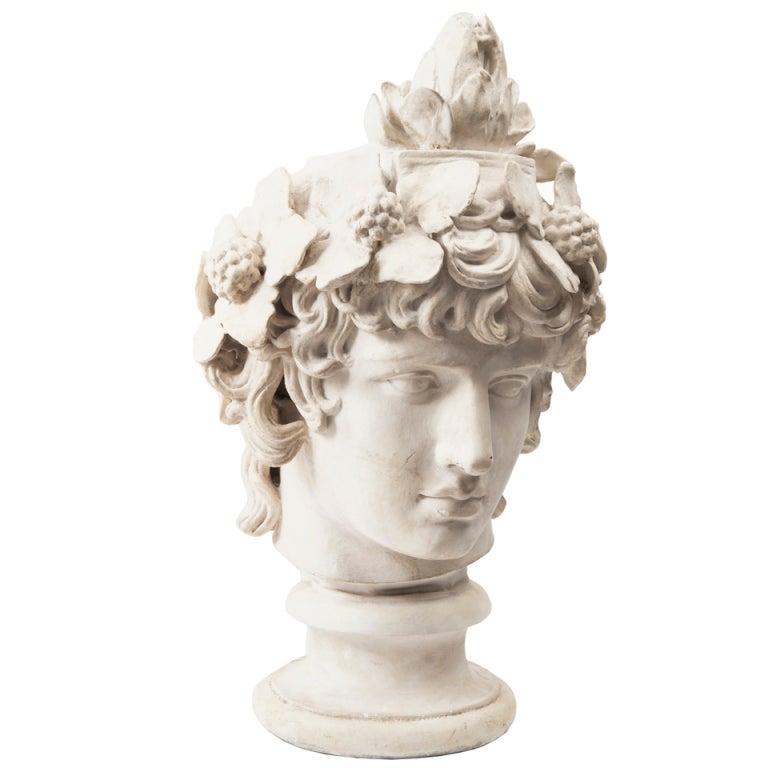 Monumental Plaster Bust of Antinous as Dionysus at 1stdibs