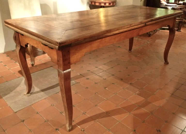 French Provincial Cherrywood Farmhouse Extending Dining Table c1850 at 1stdibs