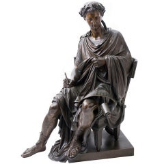 French Bronze Statue of the poet Horace stamped '1843 Raingo Freres'