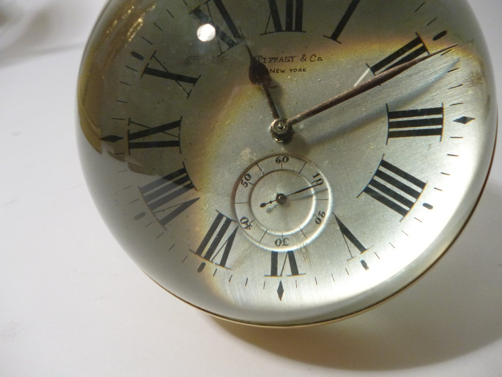Large Glass Ball Clock By Tiffany New York At 1stdibs