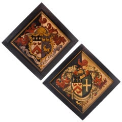 Pair of Large Oil On Canvas Hatchment Paintings