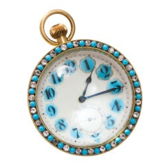 Large Glass Ball Clock with Turquoise Surround