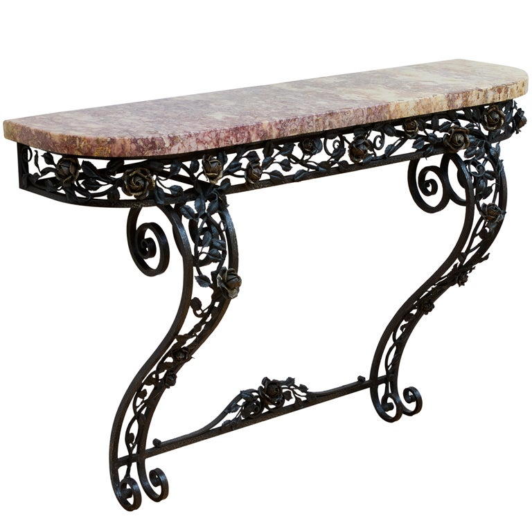 French Art Deco Iron Console Table with Marble Top 1