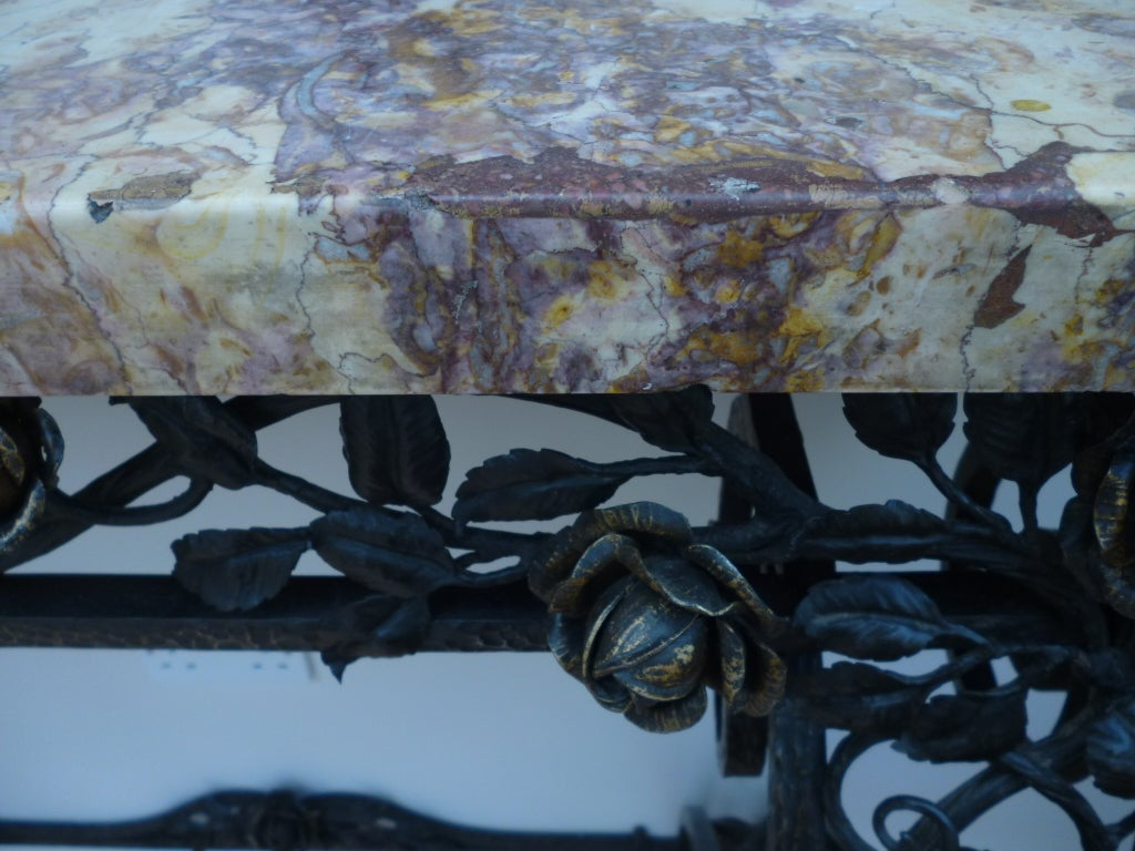 French Art Deco Iron Console Table with Marble Top 2