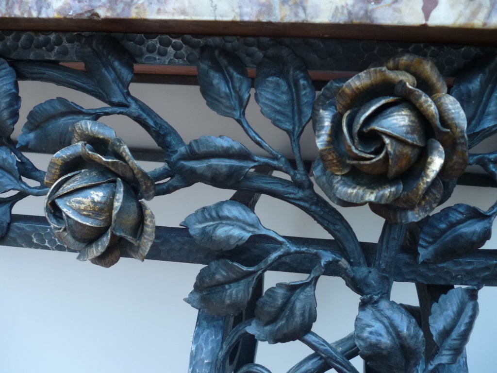 French Art Deco Iron Console Table with Marble Top 3