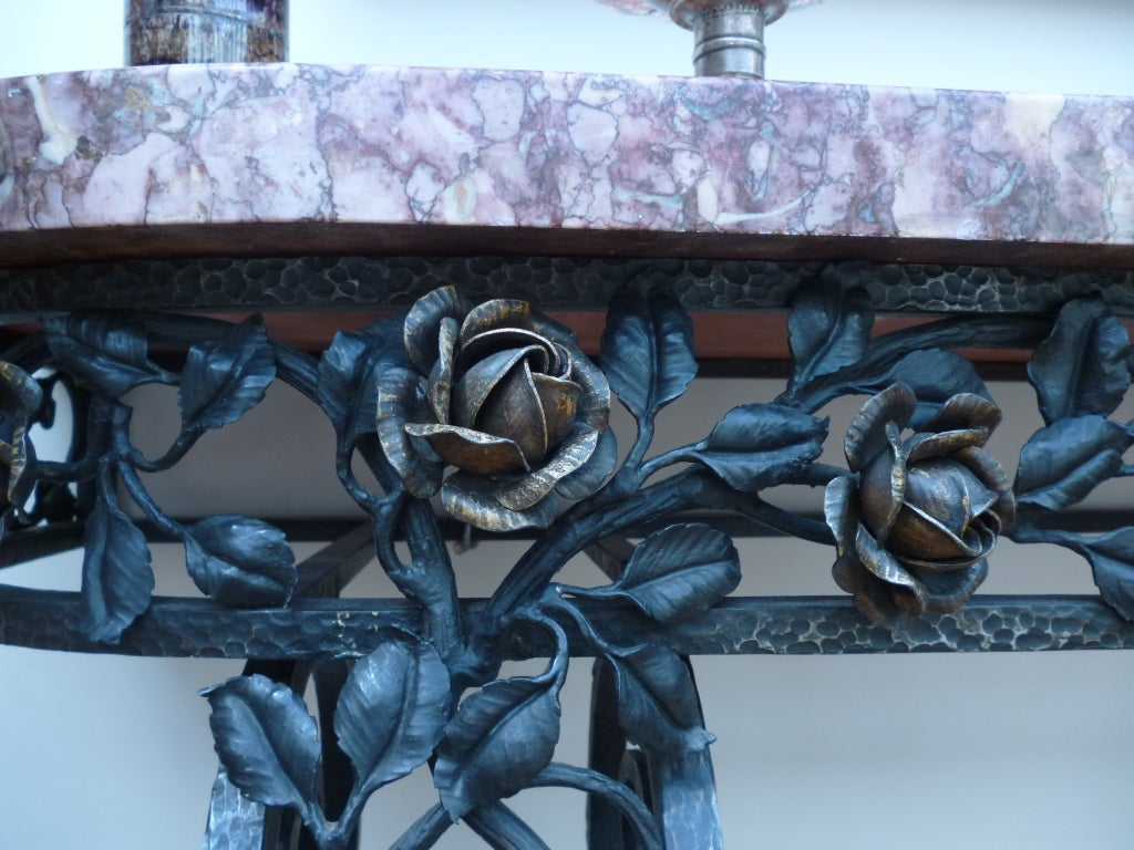 French Art Deco Iron Console Table with Marble Top 7
