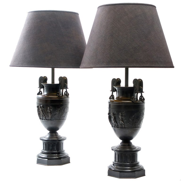"Pair French Bronze Urns after the ""Sosibios Vase"" as Lamps"