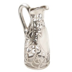 Art Nouveau Glass and Silver Jug