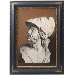 """English """"En Grisaille"""" Oil Painting of a Bust of Pericles  Early 20th Century"""