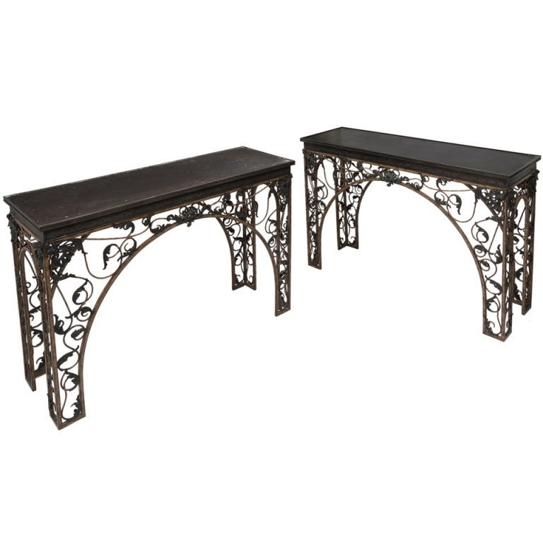 Pair english wrought iron console tables with relief for Wrought iron sofa table base