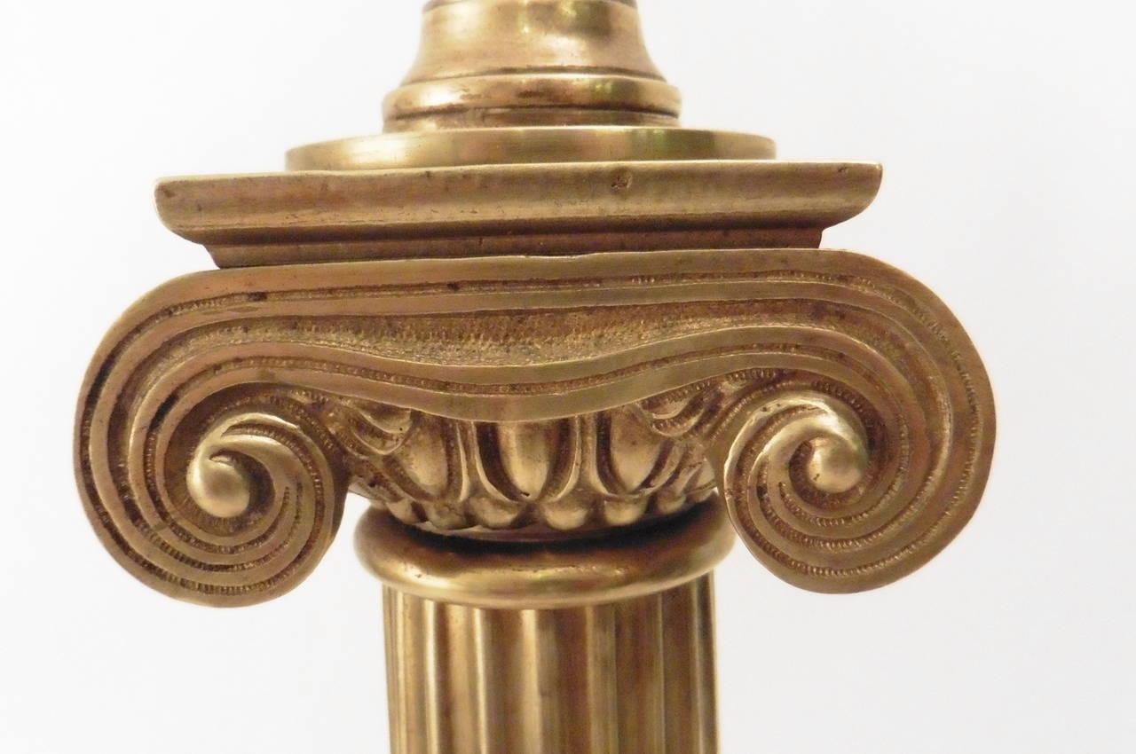 Pair Of Victorian Bronze Ionic Column Oil Lamps Circa