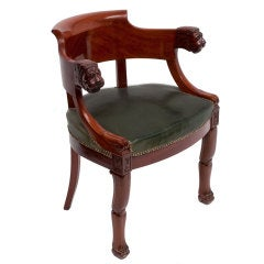 French Mahogany Tub Shaped Desk Chair With Lions Head Armrests