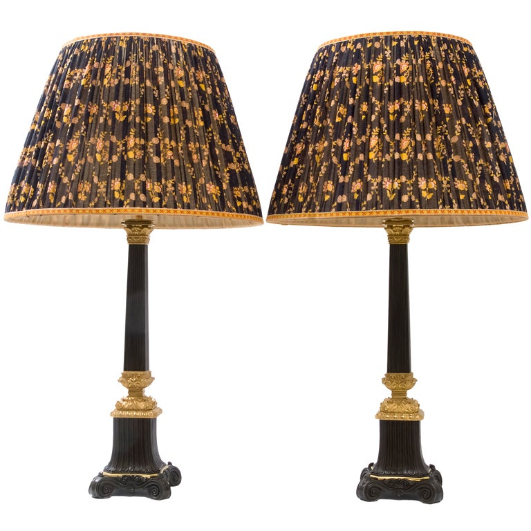 Pair French Louis Philippe Carcel Lamps