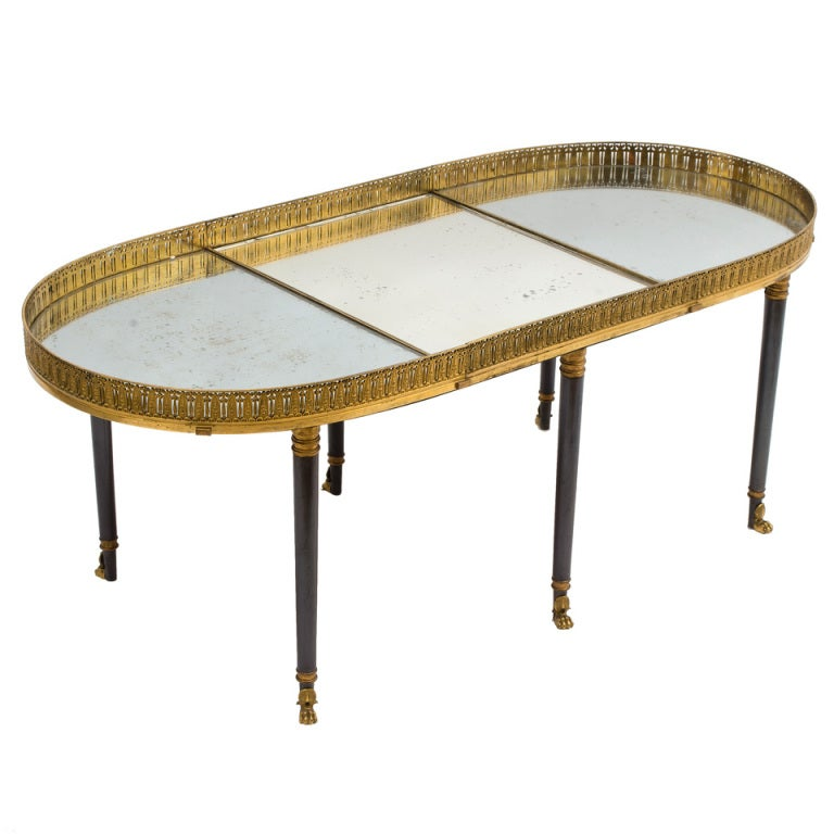 Empire Mirrored Coffee Table: French Early 19thC Empire Gilt Bronze And Mirrored Three
