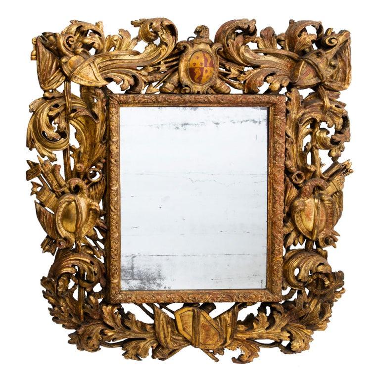 Large italian early 18th century carved baroque giltwood for Italian baroque mirror