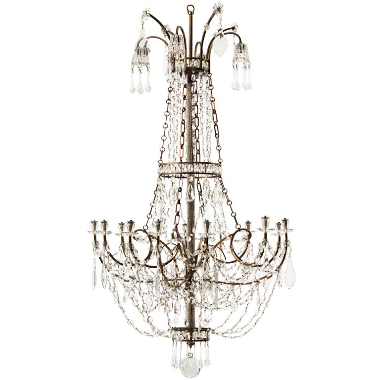 Sensational Large Italian Neo Classical Crystal And Bronze