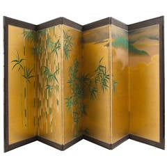 19th Century Japanese Six-Fold Paper Screen in Gold Ground