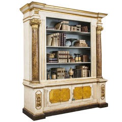 Baroque Italian Painted and Gilded Bookcase with Corinthian Columns