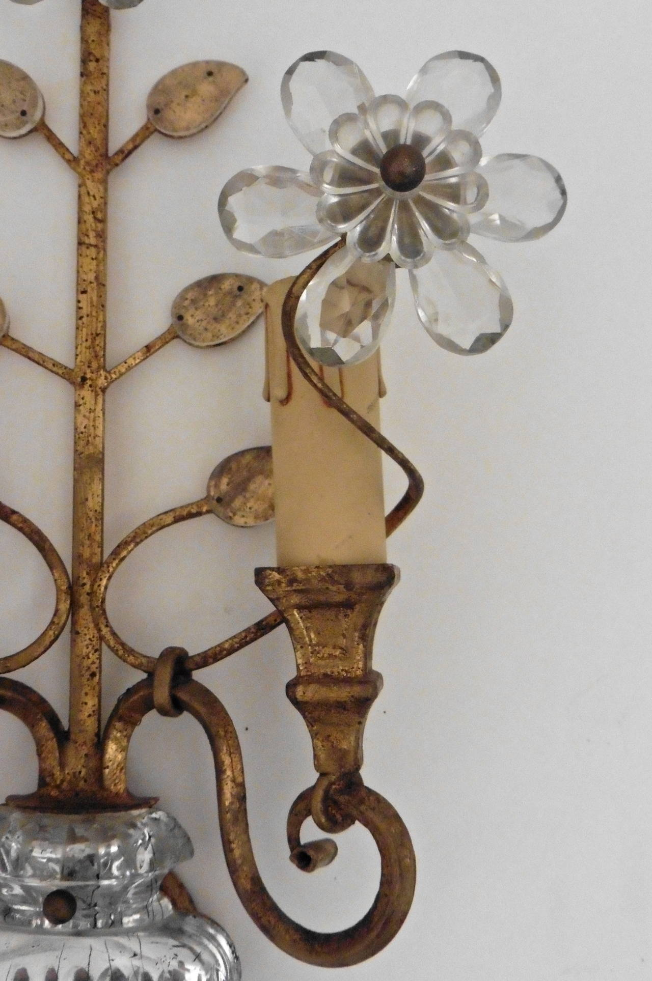 Pair of French Bagues Style Twin-Light Wall Sconces, circa 1950 at 1stdibs