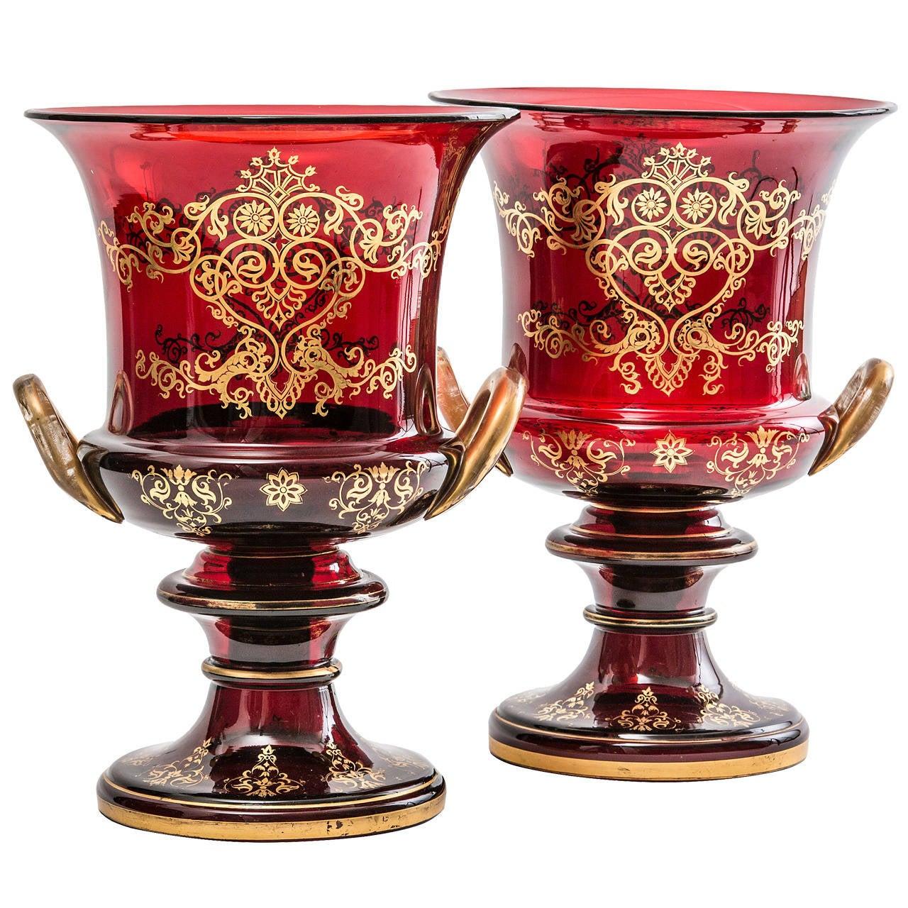 Pair Of Large English Victorian Gilt Glass Campana Shaped