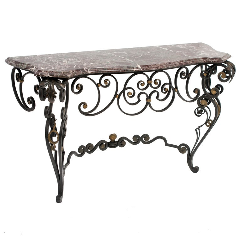 French Louis Xv Style Wrought Iron Console Table With