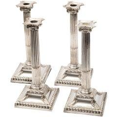 Set Four Silver Plate Corinthian Column Candlesticks, English ca. 1790