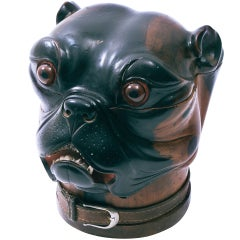 Large Victorian Tobacco Jar in the shape of a Pugs Head c.1880