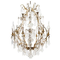 Magnificent Gilt Bronze Birdcage 12 Light French Chandelier c1950