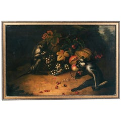 Circle of Tobias Stranover, Two Monkeys Playing With Grapes And Strawberries