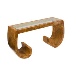 American Mid-Century Veneered Coconut Shell Console - style of Karl Springer
