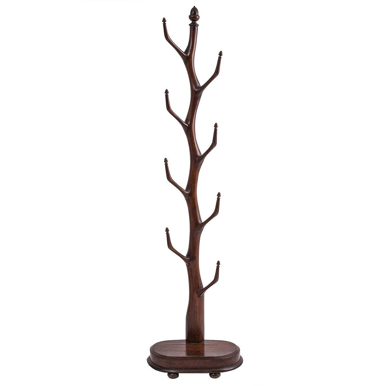 French Provincial Carved Oak Organic Form Hatstand Tree