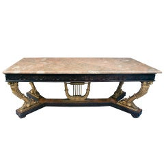 Grand French Neo Classical Marble Topped Giltwood Table c.1900