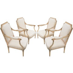 Set of 4 Large Giltwood Louis XVI Style Armchairs c.1880