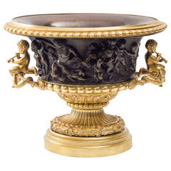 French Gilt & Patinated Bronze Planter with Classical Bas-Relief Panels c.1870