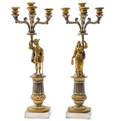 Pair of French Silvered and Gilt Bronze Candelabrum, circa 1850