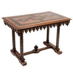Italian Walnut & Ebony Parquetry Centre Table With Bone Inlay c1890