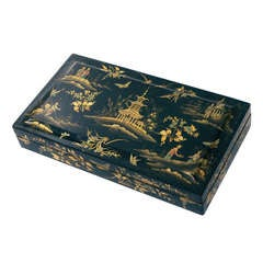 Early Victorian Chinoiserie Papier Mache Lacquered Box ca. 1840