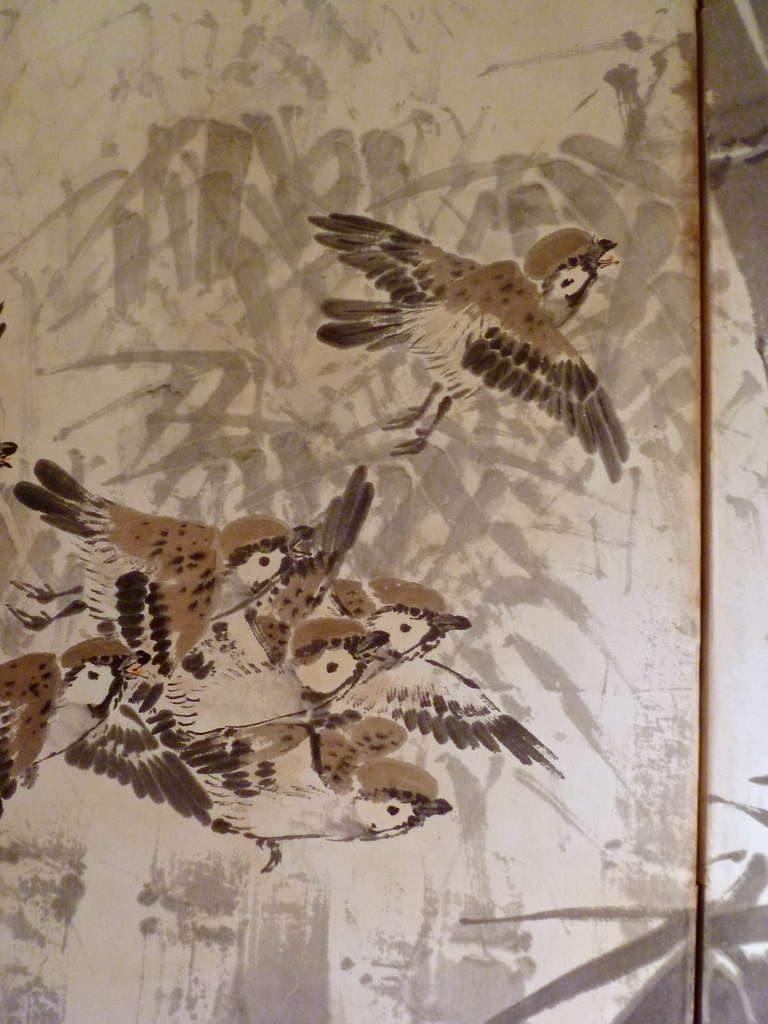 A delightful late 19th century Japanese six panel paper screen, decorated with small birds flying amongst bamboo trees. The black lacquer frame with a dark silk slip.
