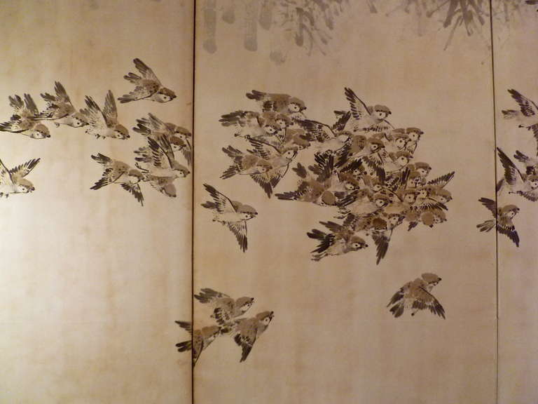 Japanese Late 19th Century Six-Panel Paper Screen For Sale 3