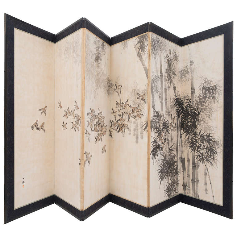 Japanese Late 19th Century Six-Panel Paper Screen For Sale