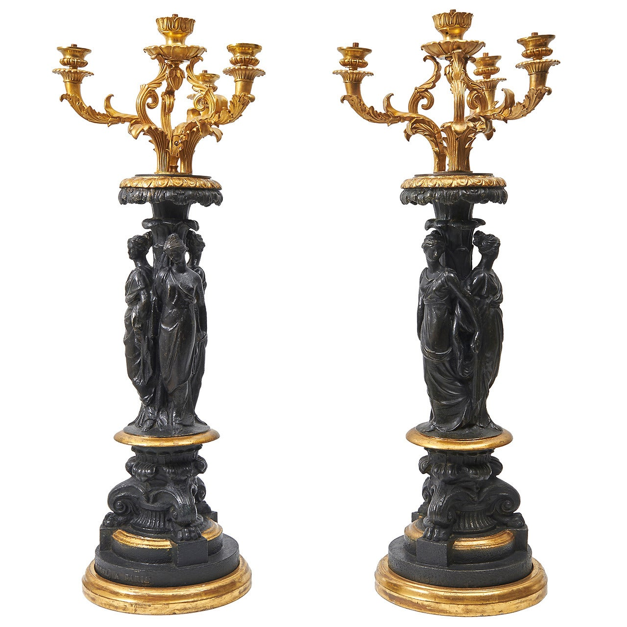 Pair of Statuesque Cast Iron and Ormolu Lamp Bases by Ducel, circa 1860